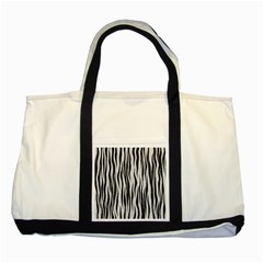 Black White Seamless Fur Pattern Two Tone Tote Bag