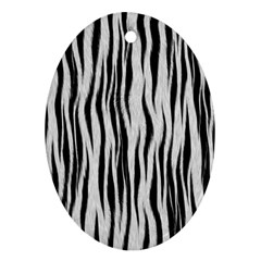 Black White Seamless Fur Pattern Oval Ornament (two Sides)