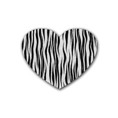 Black White Seamless Fur Pattern Heart Coaster (4 Pack)