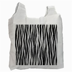 Black White Seamless Fur Pattern Recycle Bag (one Side)