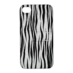 Black White Seamless Fur Pattern Apple Iphone 4/4s Hardshell Case With Stand