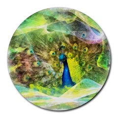 Peacock Digital Painting Round Mousepads