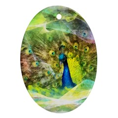 Peacock Digital Painting Ornament (oval)