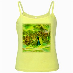 Peacock Digital Painting Yellow Spaghetti Tank