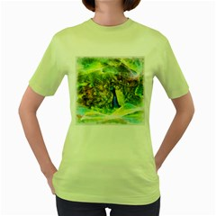 Peacock Digital Painting Women s Green T-Shirt
