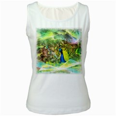 Peacock Digital Painting Women s White Tank Top