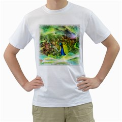 Peacock Digital Painting Men s T-Shirt (White) (Two Sided)