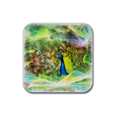 Peacock Digital Painting Rubber Coaster (Square)