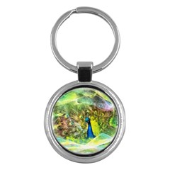Peacock Digital Painting Key Chains (Round)