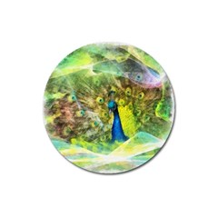 Peacock Digital Painting Magnet 3  (Round)