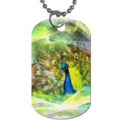 Peacock Digital Painting Dog Tag (One Side)