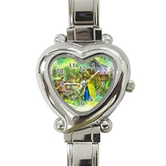 Peacock Digital Painting Heart Italian Charm Watch