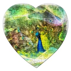 Peacock Digital Painting Jigsaw Puzzle (Heart)