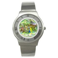 Peacock Digital Painting Stainless Steel Watch