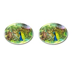 Peacock Digital Painting Cufflinks (oval)
