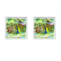 Peacock Digital Painting Cufflinks (Square)