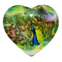 Peacock Digital Painting Heart Ornament (Two Sides)