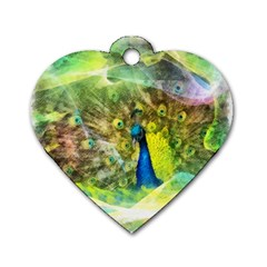 Peacock Digital Painting Dog Tag Heart (Two Sides)
