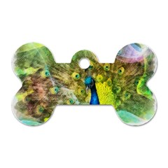 Peacock Digital Painting Dog Tag Bone (two Sides)