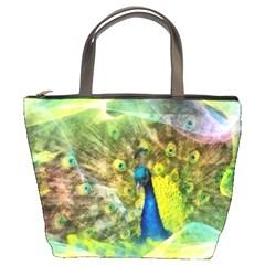 Peacock Digital Painting Bucket Bags