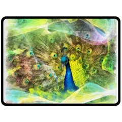 Peacock Digital Painting Fleece Blanket (Large)