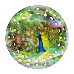 Peacock Digital Painting Round Filigree Ornament (Two Sides)