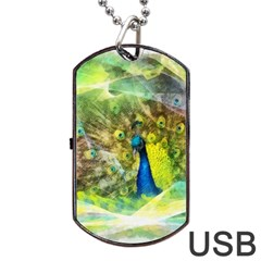 Peacock Digital Painting Dog Tag USB Flash (Two Sides)