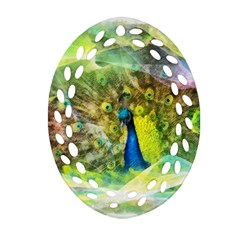 Peacock Digital Painting Oval Filigree Ornament (Two Sides)