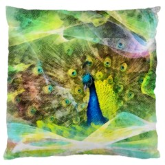 Peacock Digital Painting Large Cushion Case (two Sides)