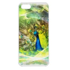 Peacock Digital Painting Apple iPhone 5 Seamless Case (White)