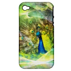 Peacock Digital Painting Apple iPhone 4/4S Hardshell Case (PC+Silicone)