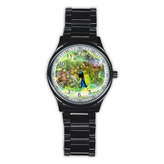 Peacock Digital Painting Stainless Steel Round Watch