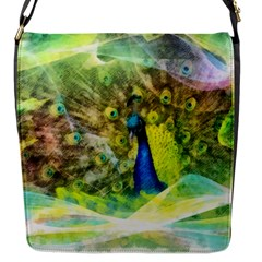 Peacock Digital Painting Flap Messenger Bag (S)