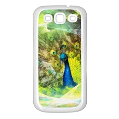 Peacock Digital Painting Samsung Galaxy S3 Back Case (White)