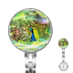 Peacock Digital Painting Stainless Steel Nurses Watch