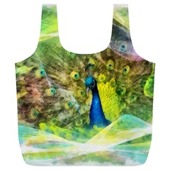 Peacock Digital Painting Full Print Recycle Bags (l)