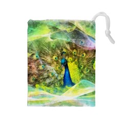 Peacock Digital Painting Drawstring Pouches (Large)