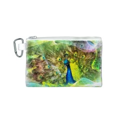Peacock Digital Painting Canvas Cosmetic Bag (S)