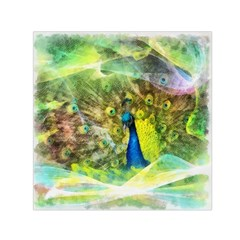 Peacock Digital Painting Small Satin Scarf (square)