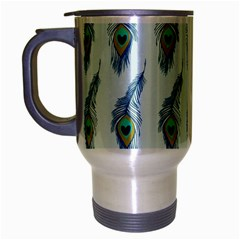 Background Of Beautiful Peacock Feathers Wallpaper For Scrapbooking Travel Mug (silver Gray)