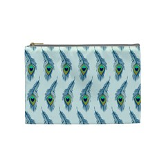 Background Of Beautiful Peacock Feathers Wallpaper For Scrapbooking Cosmetic Bag (medium)