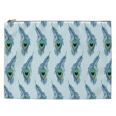 Background Of Beautiful Peacock Feathers Wallpaper For Scrapbooking Cosmetic Bag (xxl)
