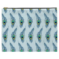 Background Of Beautiful Peacock Feathers Wallpaper For Scrapbooking Cosmetic Bag (XXXL)