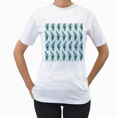 Background Of Beautiful Peacock Feathers Wallpaper For Scrapbooking Women s T Shirt (white)