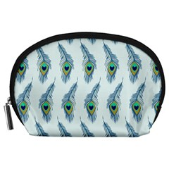 Background Of Beautiful Peacock Feathers Wallpaper For Scrapbooking Accessory Pouches (Large)