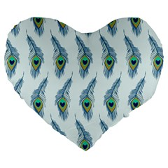 Background Of Beautiful Peacock Feathers Wallpaper For Scrapbooking Large 19  Premium Flano Heart Shape Cushions