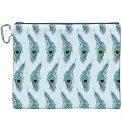 Background Of Beautiful Peacock Feathers Wallpaper For Scrapbooking Canvas Cosmetic Bag (XXXL)