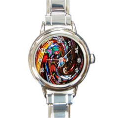 Abstract Chinese Inspired Background Round Italian Charm Watch