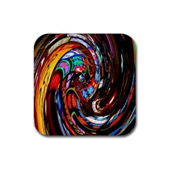 Abstract Chinese Inspired Background Rubber Coaster (Square)