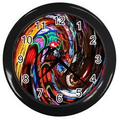 Abstract Chinese Inspired Background Wall Clocks (Black)